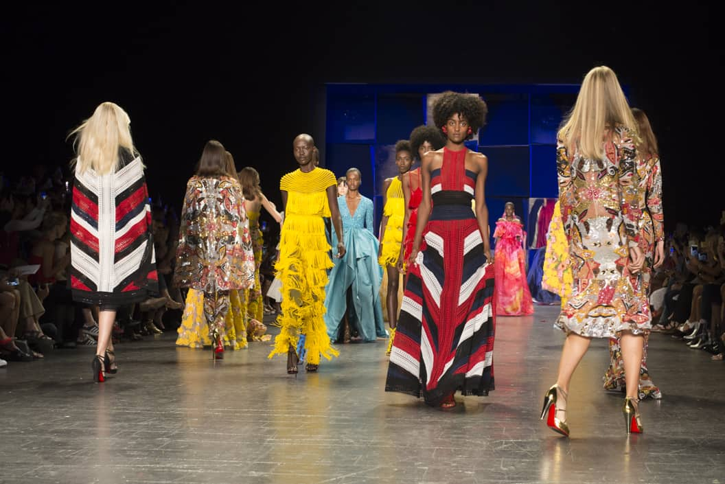 Beautiful models in bright colors on the runway of the Naeem Kahn NYFW SS17 collection