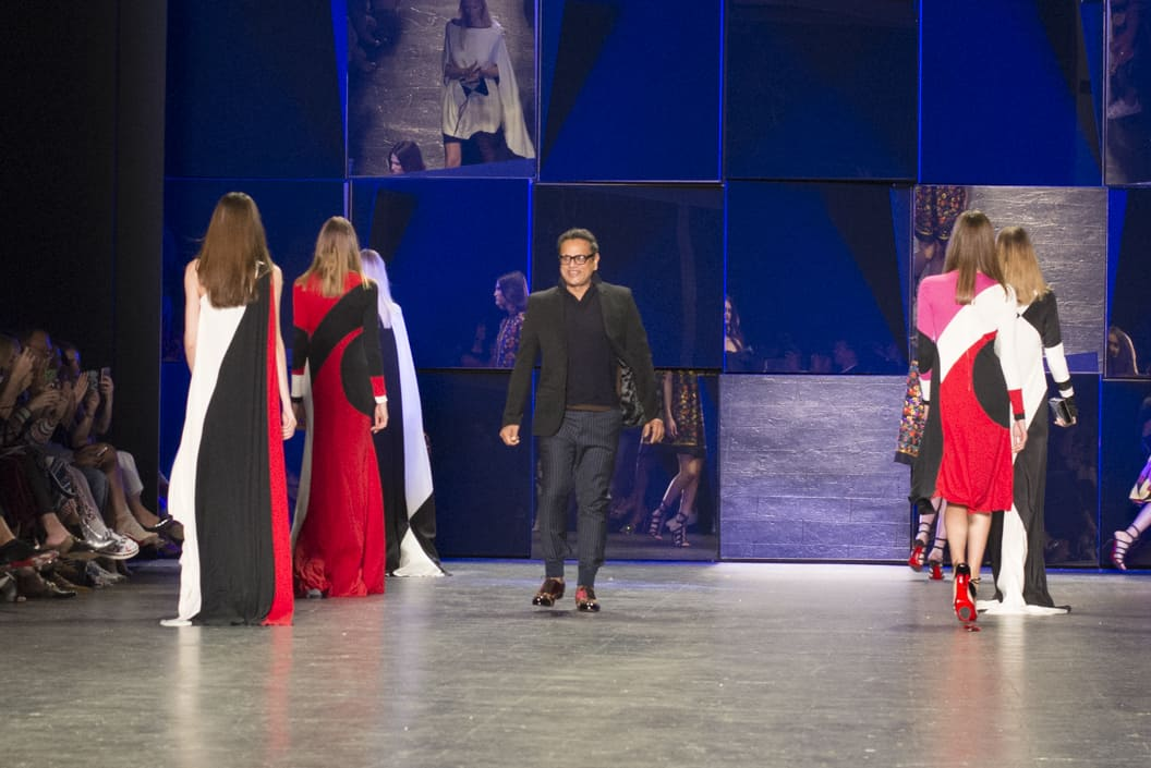 The designer and models on the runway of the Naeem Kahn NYFW SS17 collection