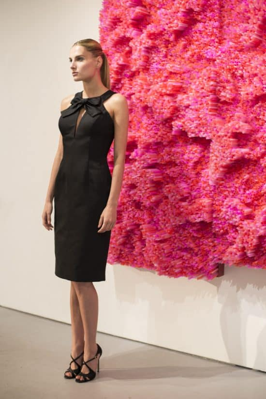 A model dressed in a piece from the Barbara Tfank NYFW presentation.