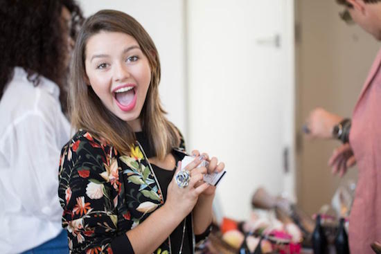 Celebrity Fatima Ptacek with her Taylord Blu Flower Ring at the NOLCHA Fashion Week event