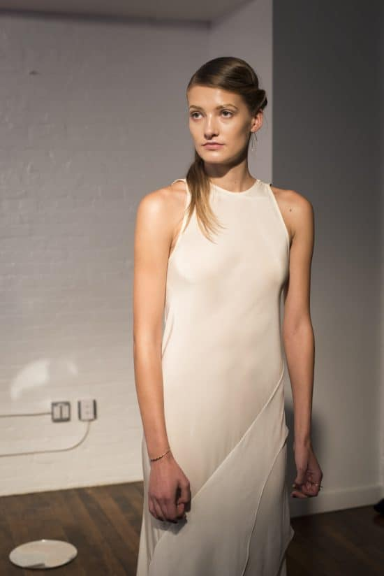 A model dressed in a piece from the Jasmine Chong NYFW collection.