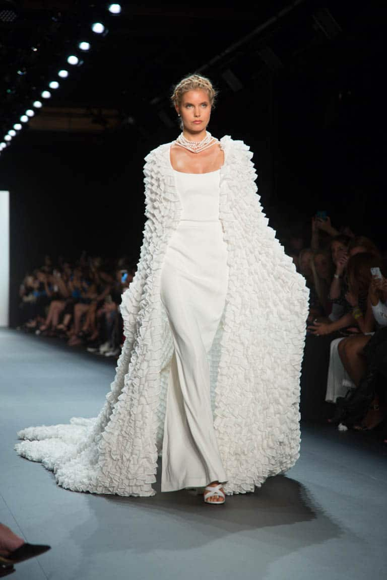 Ivory double faced dress with sheer mesh ruffled cape, John Paul Ataker's New York Fashion Week collection