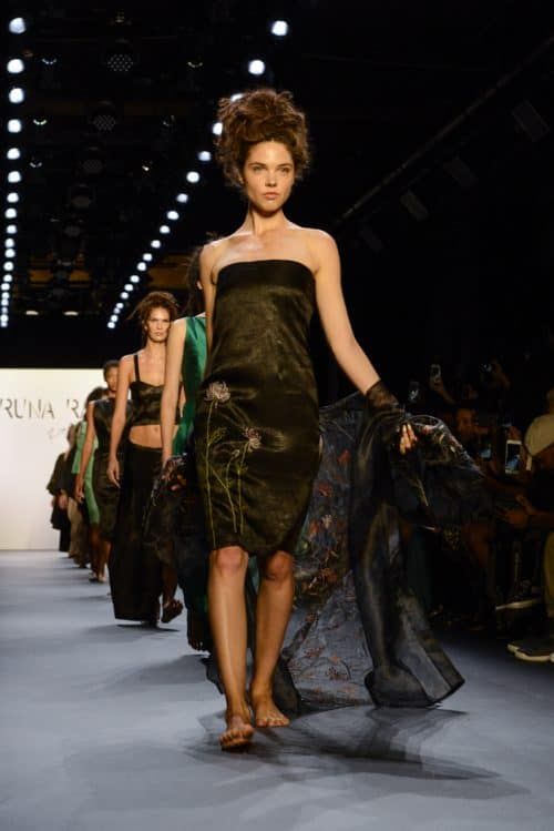 Models presenting looks from the Runa Ray NYFW collection on the runway.