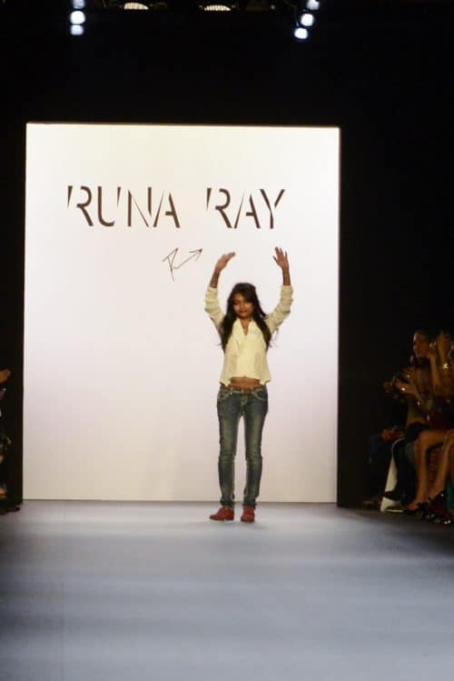 Ray Runa, NYFW designer, on the runway of her show.