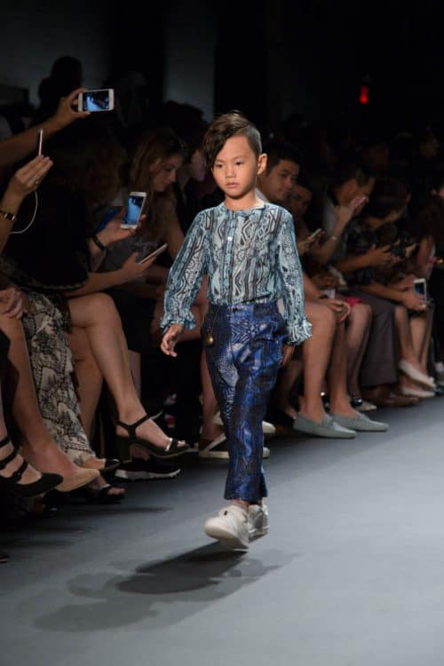 A model presenting a look from the Vicky Zhang NYFW collection on the runway.