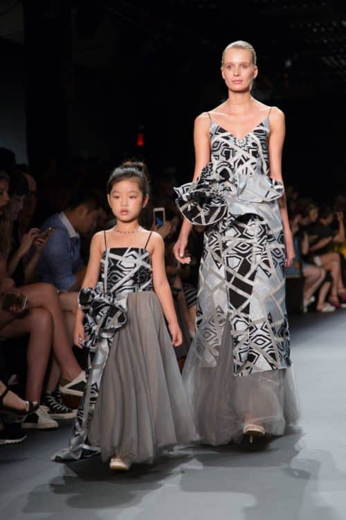 Models presenting looks from the Vicky Zhang NYFW collection on the runway.